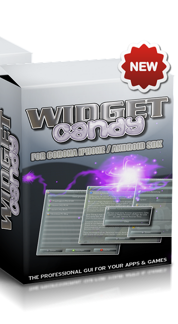 WIDGET CANDY FOR CORONA iPHONE ANDROID SDK